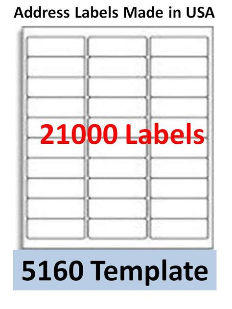 Free 5160 Label Template 21000 laser ink jet labels 30up address compatible with 5160 templates ebay