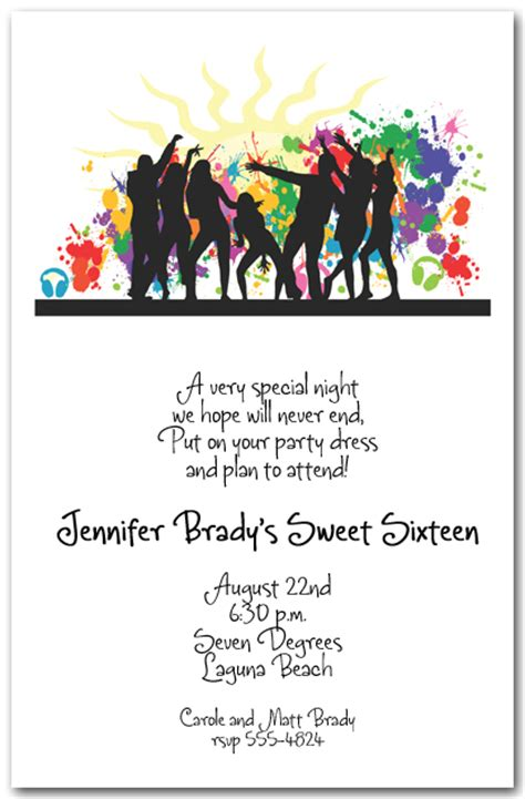 silhouette dance party invitations