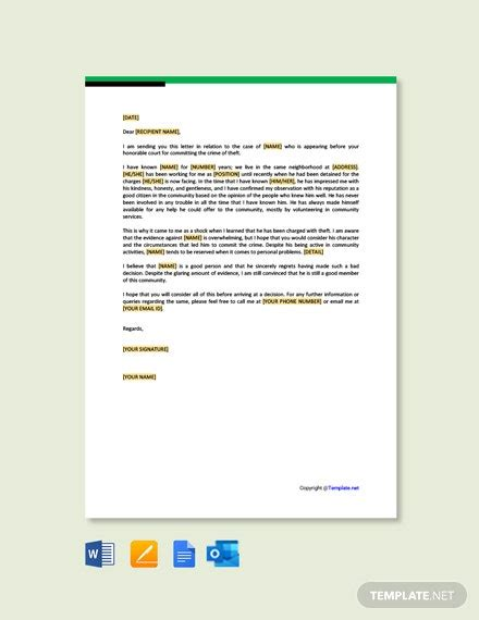 character letter recommendation court template
