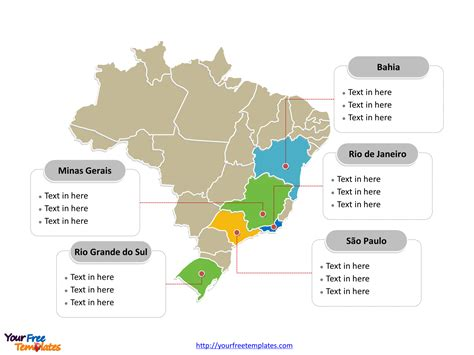 brazil political map free brazil powerpoint map free powerpoint templates