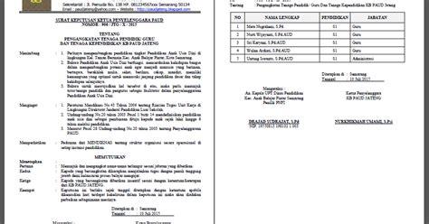 format daftar hadir guru paud contoh format sk pengangkatan guru paud tk kb tpa ra