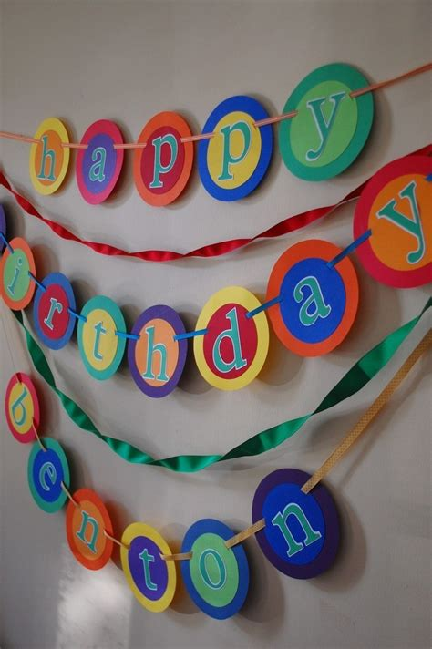 How To Make A Happy Birthday Banner Of Paper - custom happy birthday banner with name primary colors