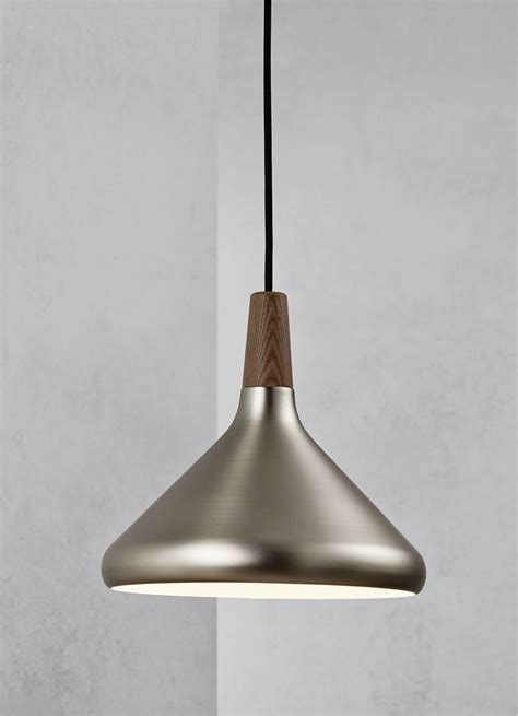 Steel Pendant Light Brushed Steel Walnut Wood Pendant