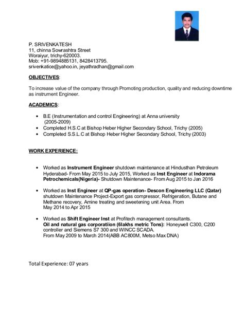 experienced instrumentation engineer resume format resume srivenkatesh instrumentation engineer