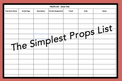 prop list template the world s catalog of ideas