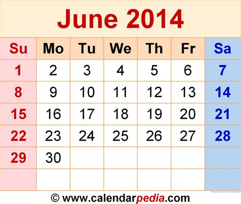 Kalender 2014 Juni June 2014 Calendars For Word Excel Pdf