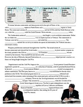 Cold War Terms Worksheet cold war vocabulary reading by students of history tpt