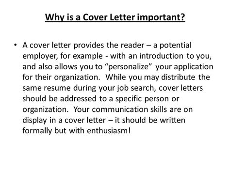 Why Is A Cover Letter Important writing cover letters ppt