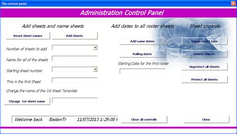 Excel Userform Templates by Excel Roster Hours And Overtime Roster System Excel