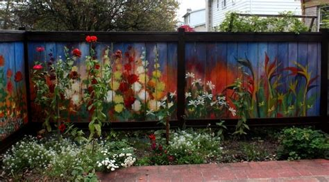 Painting Backyard Fence by I Revived Our Garden Fence By Painting Flowers On It Bored Panda