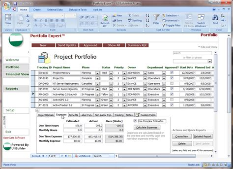 project financial analysis template microsoft access projects template opengate software inc