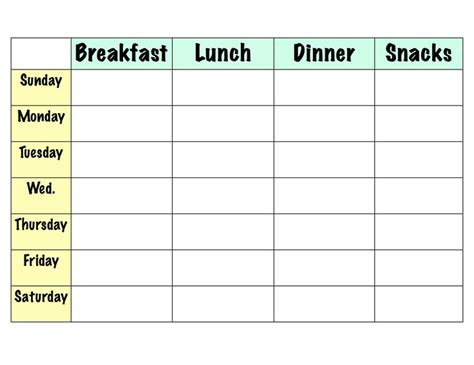 weekly meal planner template with snacks weekly meal planner template with snacks pertamini co