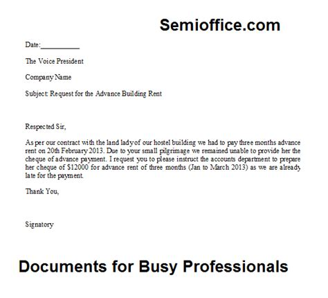 Salary Advance Payment Request Letter Request Letter For The Advance Payment