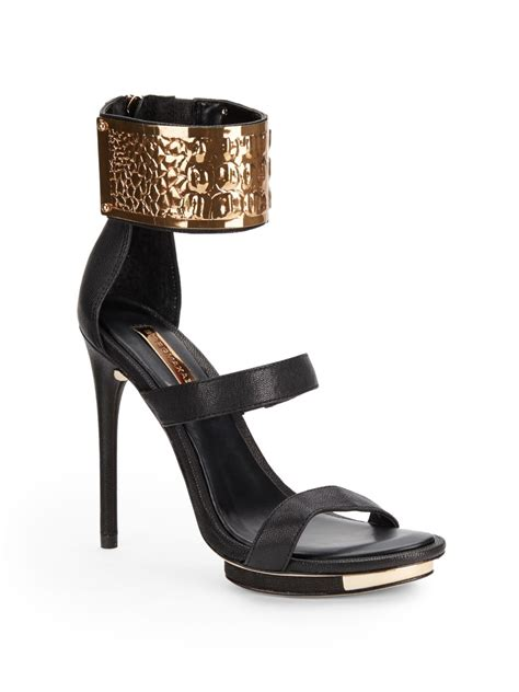 black sandals with ankle bcbgmaxazria lest metallic ankle cuff sandals in black lyst
