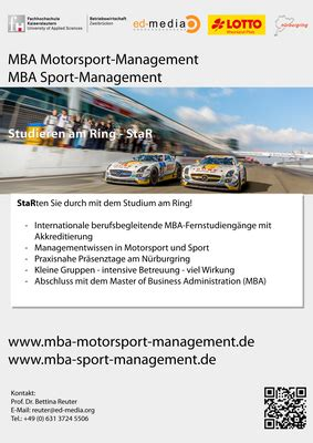 Mba In Sport Management by Studieren Am Ring Mba Motorsport Management Mba