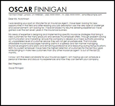 Insurance Agent Cover Letter Sample   LiveCareer