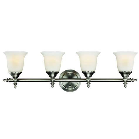 Hton Bay Lighting Fixtures Catalog Hton Bay Traditional 4 Light Brushed Nickel Vanity Light 1001220867 The Home Depot