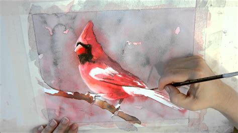 watercolor tutorial on youtube 6th installment of cardinal watercolor painting tutorial