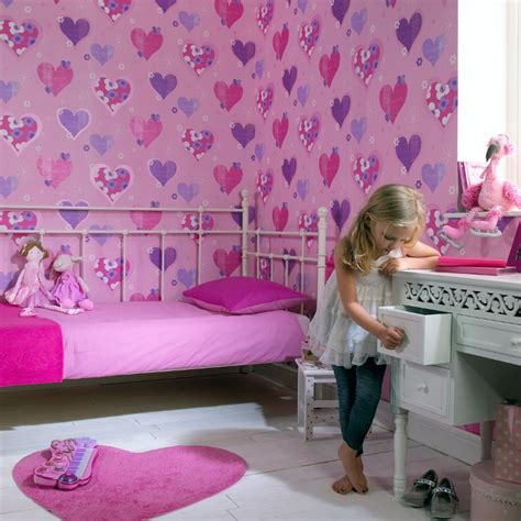 wallpaper kids bedrooms arthouse happy hearts flowers childrens kids bedroom