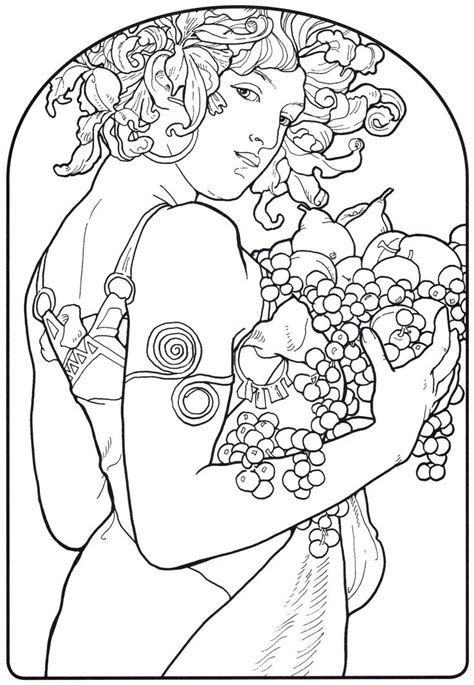 art nouveau coloring page free coloring pages of nouveau mucha