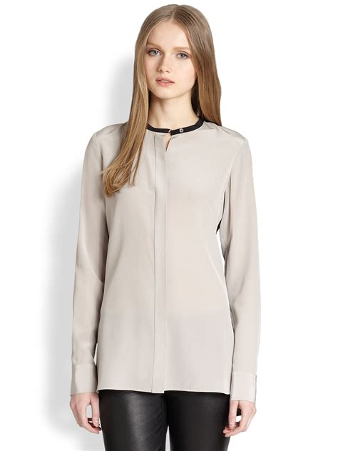 Blouse 3 Tone Sweater 3 Warna vince silk two tone blouse in lyst