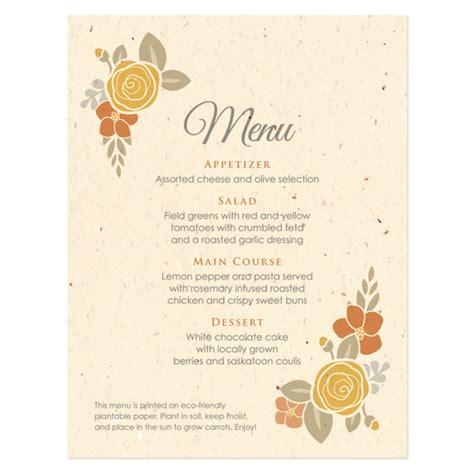 how to make a menu card floral wreath seasons menu card plantable seed wedding
