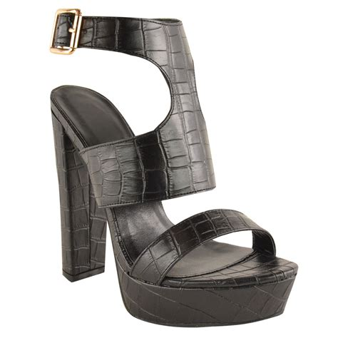 chunky high heel sandals new womens high heel platform sandals ankle strappy