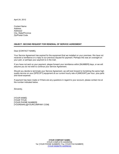 Sle Letter Asking For Contract Renewal Second Request For Renewal Of Service Agreement Template Sle Form Biztree