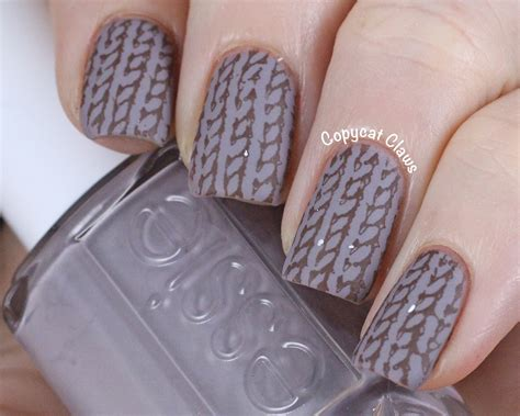 knit pattern nails copycat claws knitted sweater nail sting essie