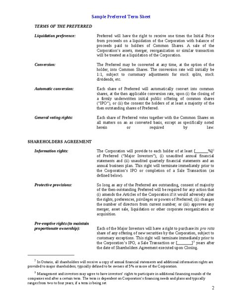acquisition term sheet template term sheet template or venture capital investors