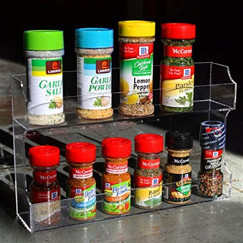 Clear Spice Rack Clear Acrylic Wall Mounted Counter Top 2 Tier Spice Rack