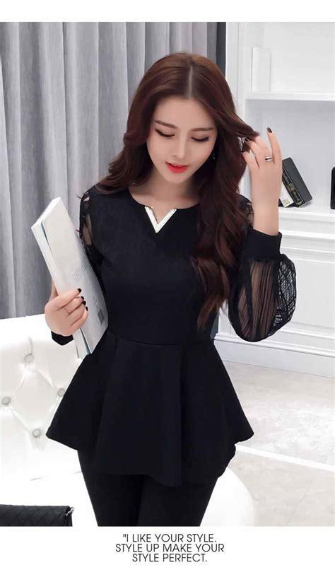 Diandra Blouse Bahan Wolfice Simple Murah Blouse Korea Warna Hitam Simple 2016 Toko Baju Wanita