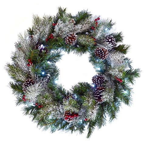 24 quot 61cm light up led green frosted christmas wreath