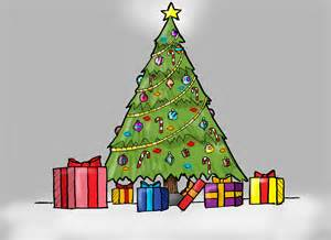 how to draw a christmas tree with presents for kids