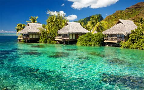 Tiki Huts On The Water Vacation fiji island in the pacific