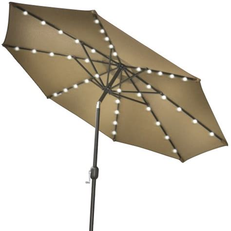 Patio Umbrella With Solar Lights Strong Camel 9 New Solar 40 Led Lights Patio Umbrella Garden Outdoor Sunshade Market Taupe Shop