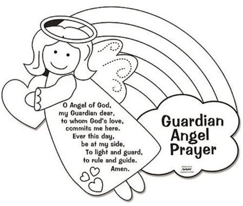 Coloring Page Guardian Angel Prayer | amazon com color your own guardian angel prayers arts