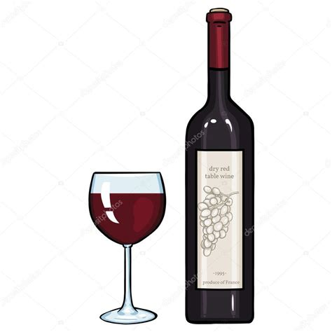 cartoon wine vector cartoon illustration glass and bottle of red wine