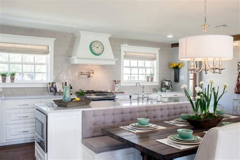 Kitchen Island With Bench Seating Fixer Plain Gray Ranch Made Bright And Spectacular Joanna Gaines Couples And