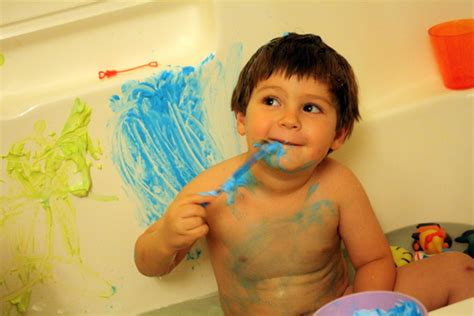 bathtub paint kids warning pinterest made my kid turn blue