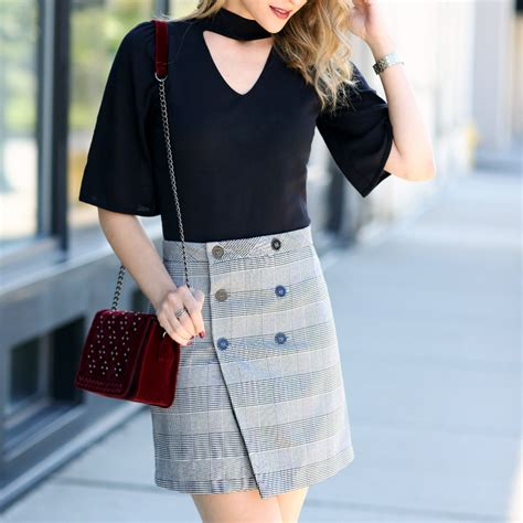 Buttoned Plaid Skirt checked out pincher fashion
