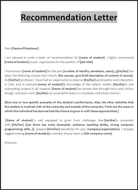 Recommendation Letter Format Examples   Cover Letter Templates