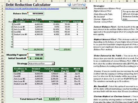 how to create an excel spreadsheet for credit cards debt