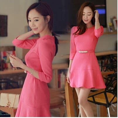 Dress Import Murah A30906 Pink dress korea warna pink 2015 model terbaru jual murah
