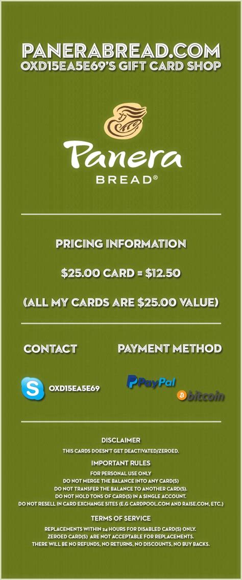 Sell Panera Gift Card - sold selling 25 panera bread gift card 50 60 off paypal and bitcoin