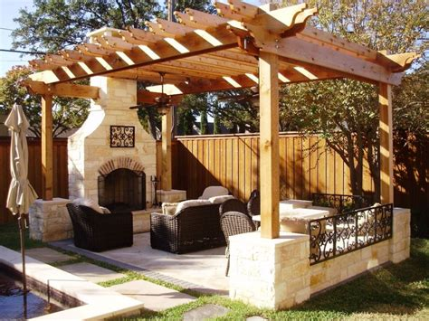 outdoor living ideas nice wooden pergola with stone fireplace for interesting