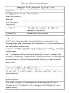 Employee Investigation Form Template by Workplace Investigation Report Template 4 Free Pdf