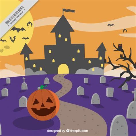 fondo de pantalla de calabaza castillo cementerio fondo de calabaza feliz en un cementerio descargar