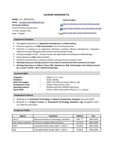 resume format for 1 year experienced software developer 1 year experience resume sle c45ualwork999 org