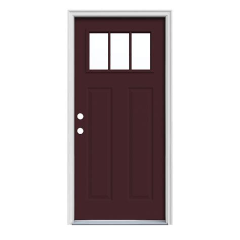 Jeld Wen Exterior Door by Shop Jeld Wen Craftsman 3 Lite Prehung Inswing Steel Entry